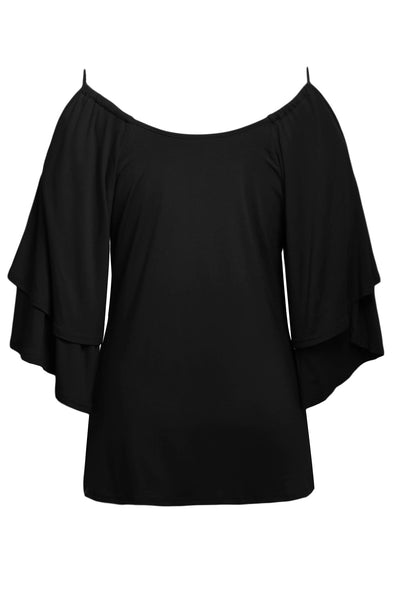 Black Layered Sleeves Ruffled Off Shoulder Blouse