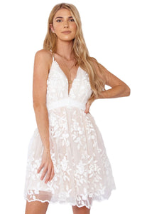 Cross Hollow-out Back Lace Dress