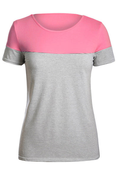 Pink Color Block Striped Short Sleeve T-shirt
