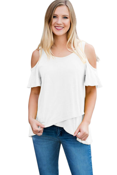 White Cold Shoulder High Low Top