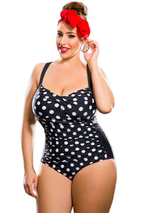 Black White Polka Dot Plus Size One-Piece Swimsuit