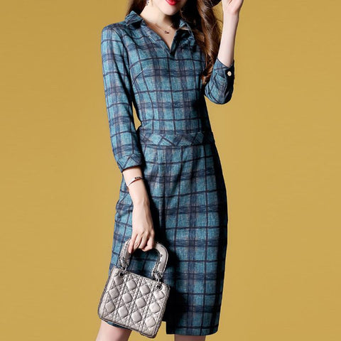 POPHERS Temperament Plaid Lapel 3/4 Sleeve Split Bodycon Dress