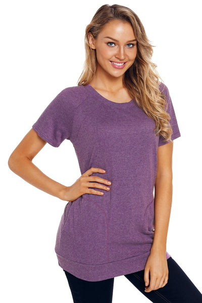 Purple Heathered Short Sleeve Pocket Tee