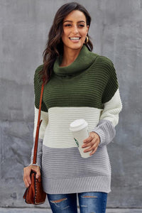 Green Turtleneck Color Block Pullover Sweater