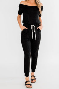 Black Living My Life Drawstring Jogger Jumpsuit
