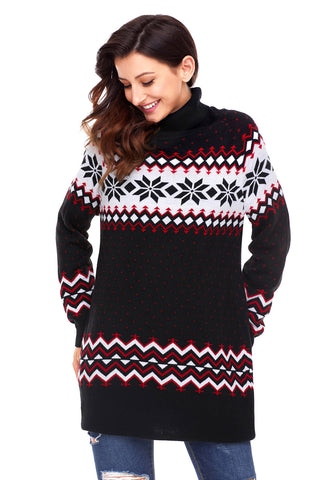 Black Christmas Snowflake Knit Turtleneck Jumper