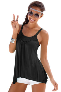 Black Lace Patchwork Sleeveless Top