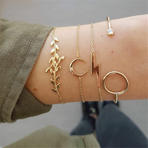 Fashion Leaf Moon Bracelet Bracelet Set