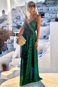 POPHERS Green V Neck Tunic Satin Maxi Dress