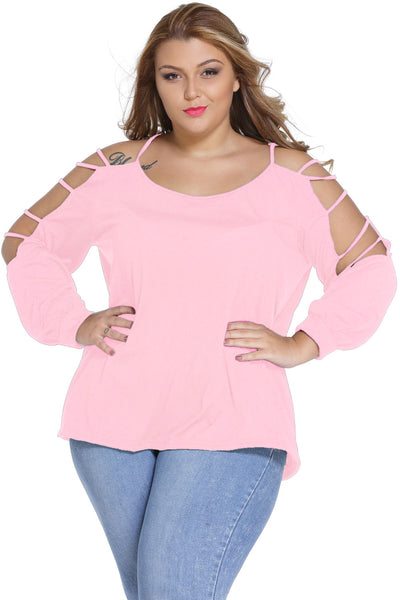 Pink Plus Cut out Swing Arm Top