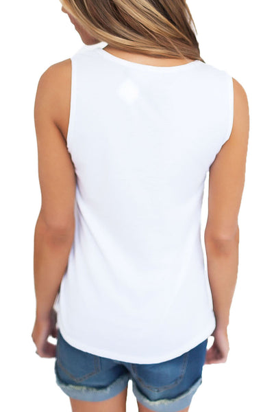 White T Front Strappy Neck Tank