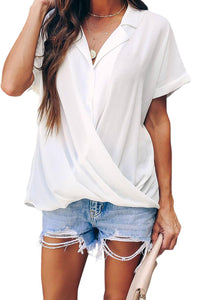 White Road To Success Button Down Drape Blouse