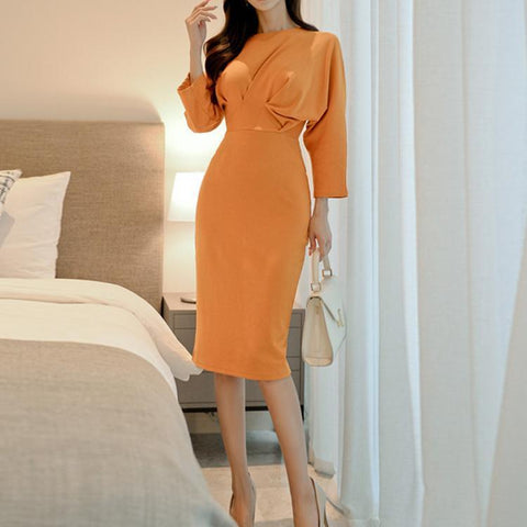 POPHERS Temperament Round Neck Bat Sleeves Bodycon