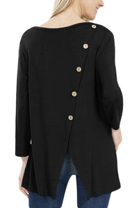 Black Button Back Long Sleeve Tunic Top