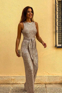 POPHERS Gold Waist Tie Sleeveless Sexy Sequin Jumpsuit