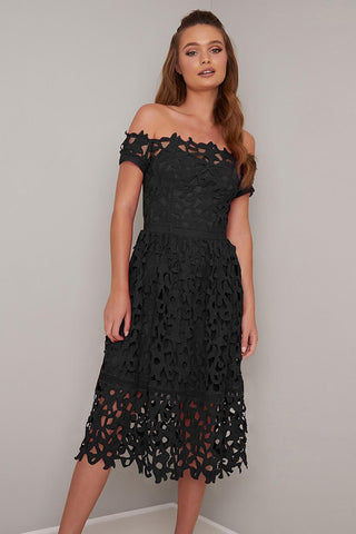 POPHERS Black Off Shoulder Short Sleeve Crochet Party Dress