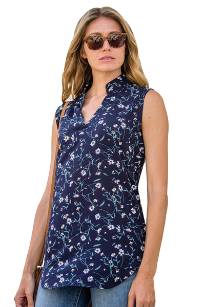 Navy Blue Sleeveless Floral Top