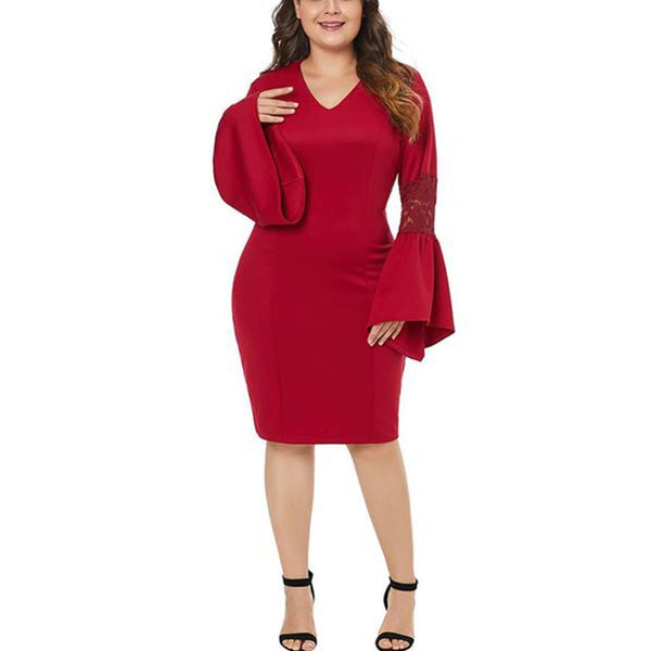 POPHERS Plus-Size Splicing Sexy V-Neck Lace Flared Long Sleeves Dress