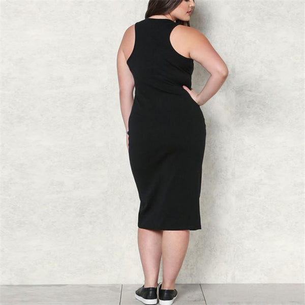 POPHERS Plus-Size Sexy Solid Color Sleeveless Knit Dress