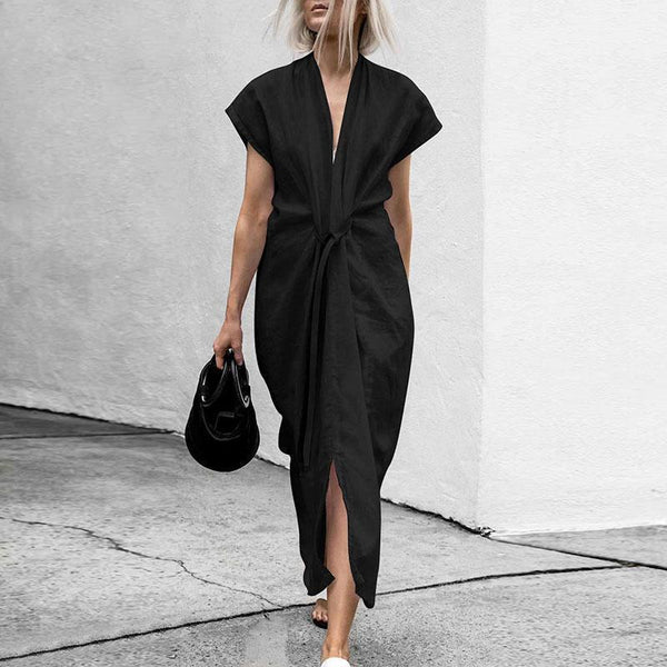 Sexy Chic V Collar Plain Belted Slit Maxi Dress