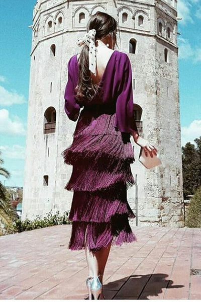 Fashion Sexy Backless Tassel Purple Maxi Dress