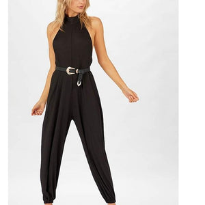 POPHERS Stylish Sleeveless Round Neck Bandage Sexy Jumpsuits