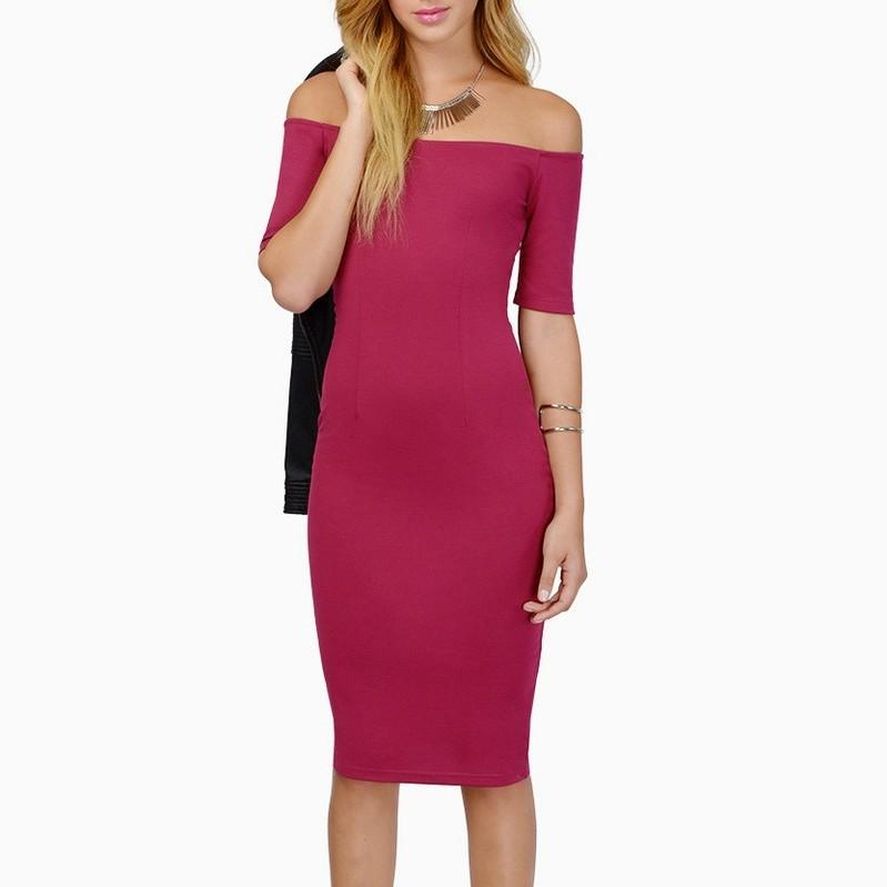 POPHERS Stylish Short Sleeve Solid Color Off Shoulder Bodycon Dresses