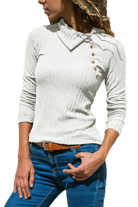 White Ribbed Knit Turn Down Collar Top
