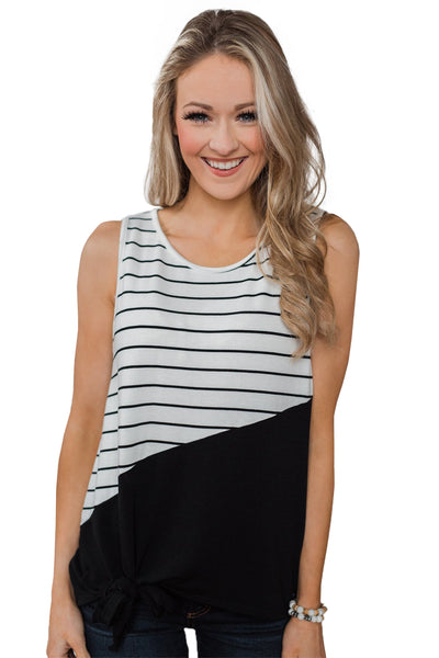 Black Time of Our Lives Striped Tank