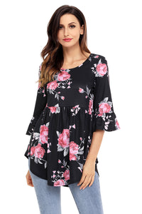 Black Grounding Floral Print Babydoll Top