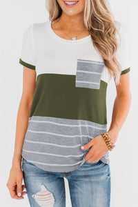 Green Right Here With Me Color Block Top