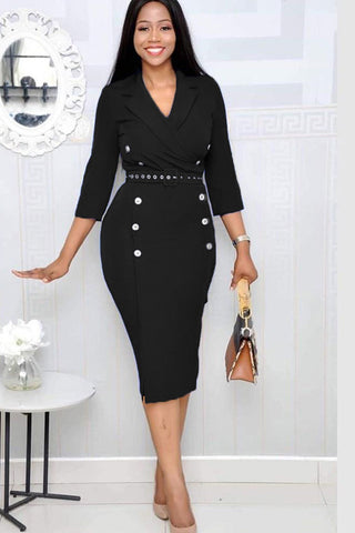 POPHERS Black Three-Quarter Sleeve Knee Length Notched Lapel Pencil Dress