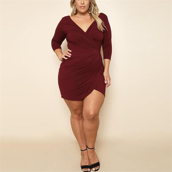 POPHERS Plus-Size Sexy Solid Color V-Neck Mini Dress