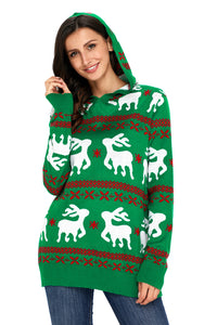 Christmas Reindeer Knit Green Hooded Sweater