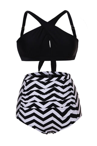 Black Cross Front Bikini Zigzag High Waist Swimsuit