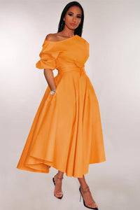 POPHERS Orange One-shoulder Waist Cincher Puffy Party Dress