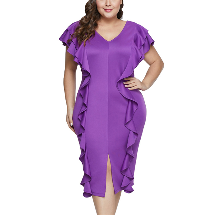 POPHERS Plus-size sexy pure color v collars flounces dress