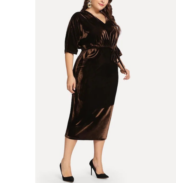 POPHERS Plus-size sexy solid color corduroy v-neck dress