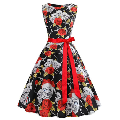 POPHERS Sleeveless Skull Halloween Bandage Sleeveless Skater Dresses