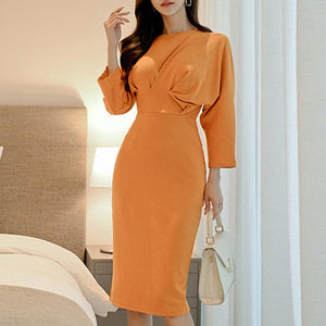 POPHERS Temperament Round Neck Batwing Sleeve Slim Bodycon Dress