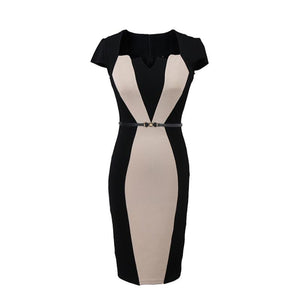 POPHERS Square Collar Belt Short Sleeve Bodycon Dress