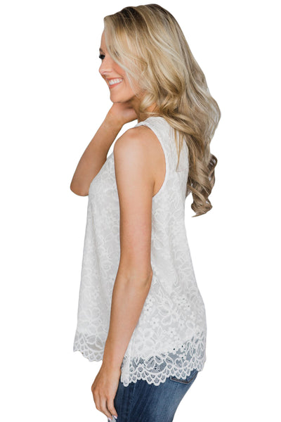 White Lace Tank Top with Linning