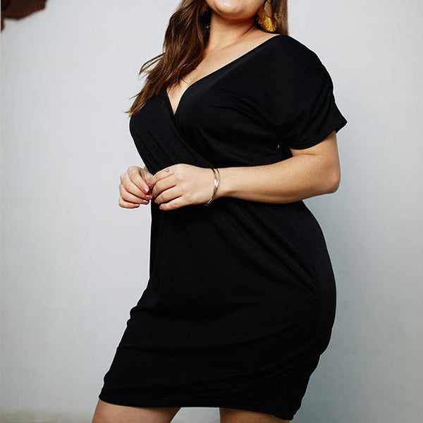 POPHERS Plus-size sexy v-neck solid color dress