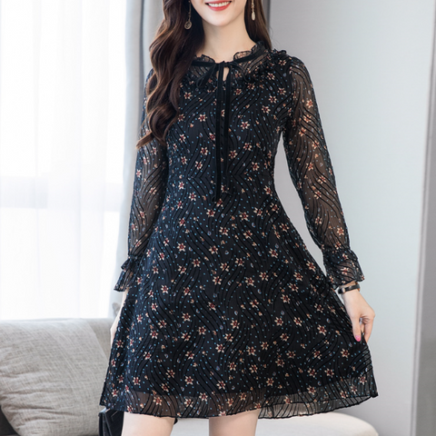 POPHERS Tie Collar Floral Printed Skater Dress