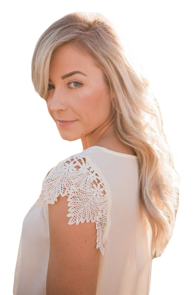 White Lace Sleeve Front Pleat Blouse