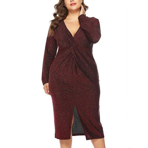 Plus-Size Pure Color Sexy V-Neck Dress