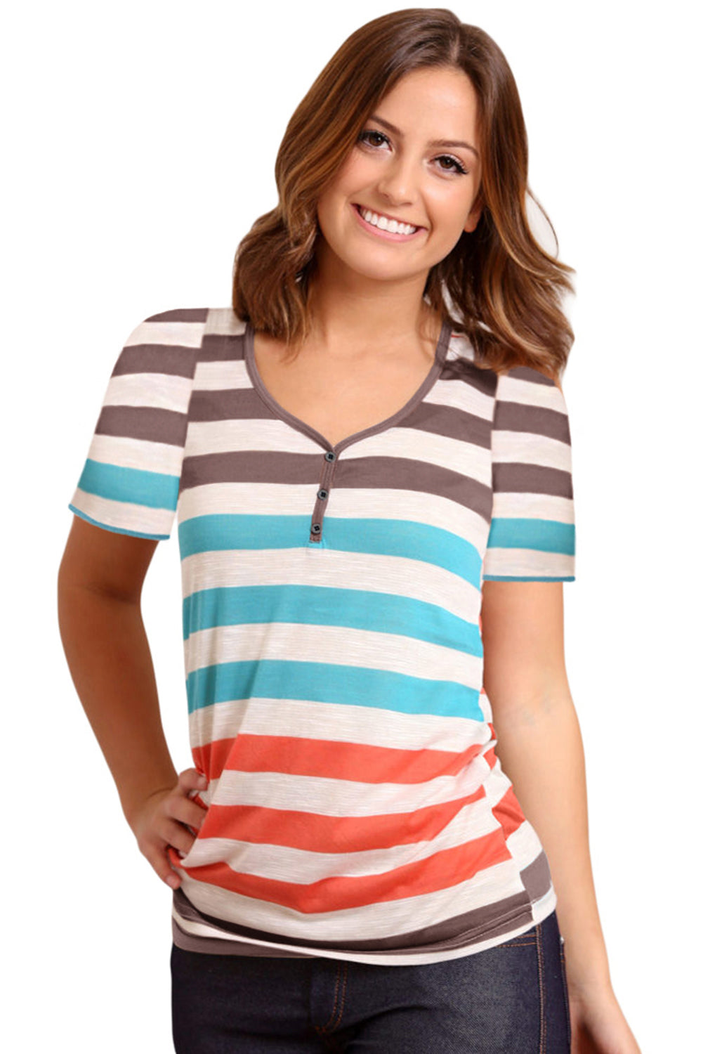 Sky Blue Striped Henley T Shirt
