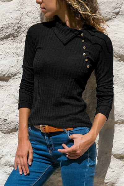 Black Ribbed Knit Turn Down Collar Top