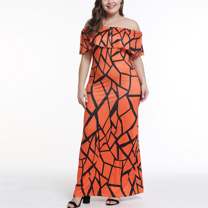 POPHERS Plus-Size Sexy Print One Word Shoulder Flounce Dress