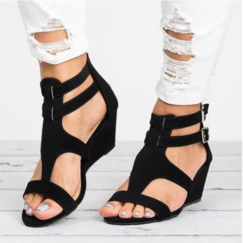 Women's Simple Casual Wedge Zip Sandals